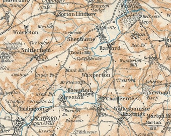 """1927 Stratford on Avon, Warwick, Leamington, """"Shakespeare Country"""" United Kingdom (Great Britain) Antique map"""