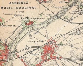 1924 Asnieres Paris France Antique Map