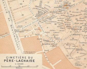1913 Pere-Lachaise Cemetery, Paris France Antique Map