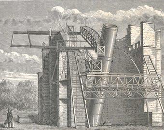 1877 Telescope Antique Astronomy Print