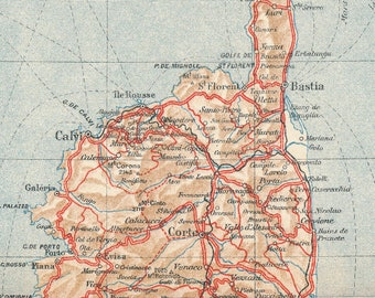 Corsica map | Etsy
