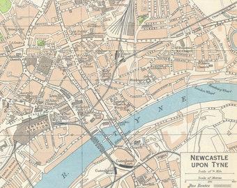1965 Newcastle on Tyne United Kingdom Vintage map