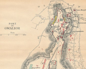 1911 Fort Gwalior India Antique Map