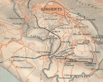 Agrigento Italy Map.Agrigento Italy Map Etsy
