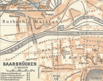 Saarbrucken Germany Map.Saarbrucken Germany Etsy