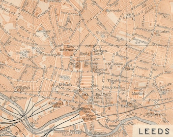 1908 Leeds and Bradford United Kingdom (Great Britain) Antique map