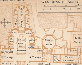 1922 Westminster Abbey London England Antique Map
