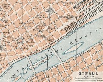 1909 St. Paul Minnesota Antique Map