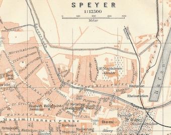 Speyer Germany Map Etsy