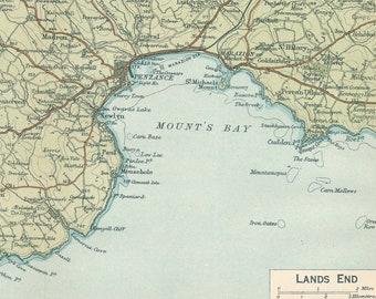 Lands End England Map.Old Lands End Map Etsy