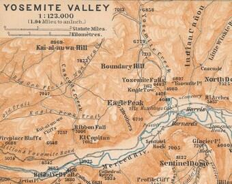 1893 Yosemite National Park, Yosemite Valley Antique Map