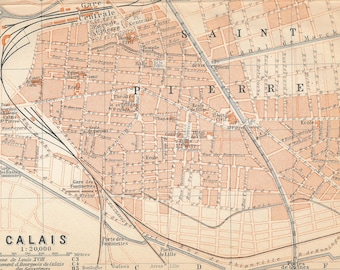 Pas-de-calais Maps, Atlases & Globes Antiques Calais Town Plan 1913 Old Antique Vintage Map Chart