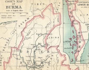 Ancienne carte de 1911 Myanmar (Birmanie)