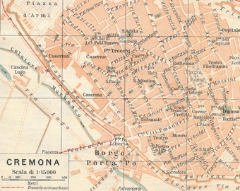 1925 Cremona Italy Antique Map