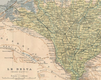 1908 Nile River Delta Egypt Antique Map