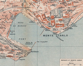 1922 Monaco & Monte Carlo Antique Map