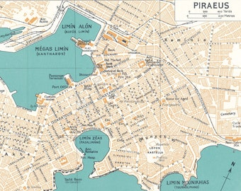 Piraeus Greece Map Etsy