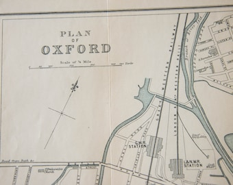 1950 Oxford United Kingdom (Great Britain) Vintage map
