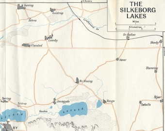 Silkeborg lakes map - Vintage | Etsy CA