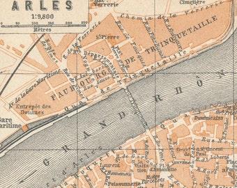 1914 Arles France Antique Map
