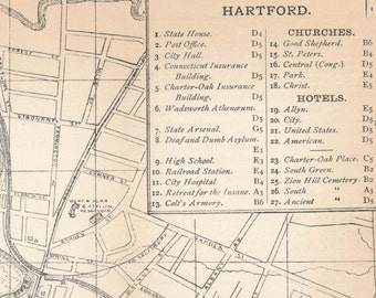 1892 Hartford Connecticut Antique Map
