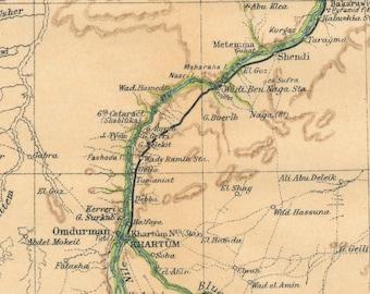1907 Nile River Egypt Antique Map