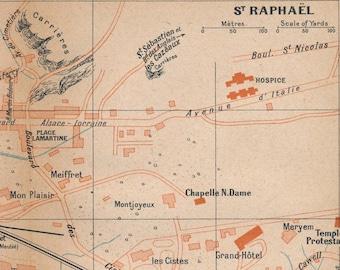 St Raphael France Map.St Raphael Art Etsy