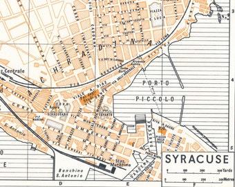 Syracuse Italy Map Etsy