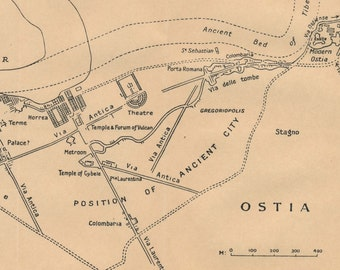 1925 Ostia Rome Italy Antique Map Etsy