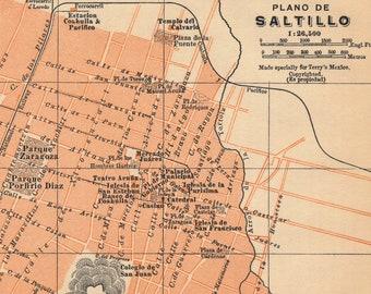 Saltillo Mexico Map Etsy
