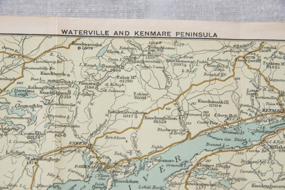 1904 Waterville Ireland Kenmare Peninsula Antique Map Etsy