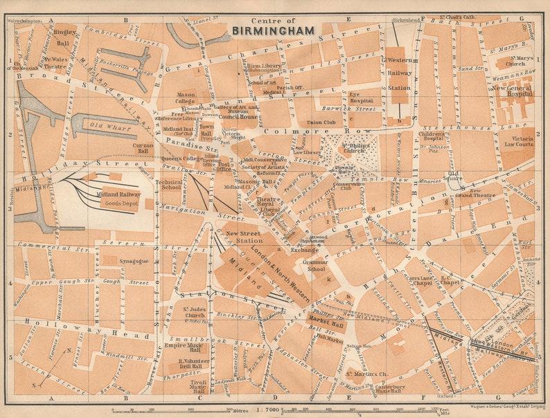 Birmingham Karte.1908 Birmingham Vereinigtes Königreich Großbritannien Antike Karte