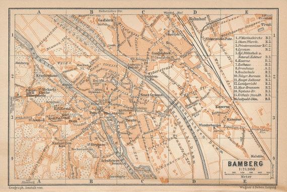Karte Bamberg Landkarte.1907 Bamberg Deutschland Antike Karte