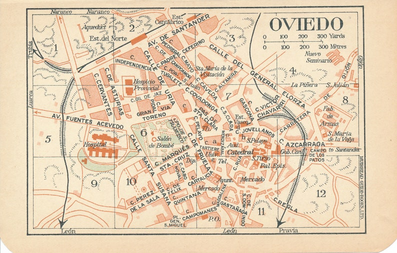 Map Of Spain Oviedo.1930 Oviedo Spain Antique Map
