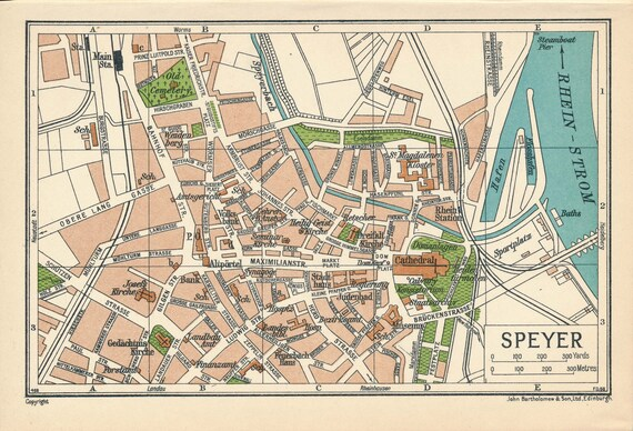 1933 Speyer Germany Antique Map Etsy
