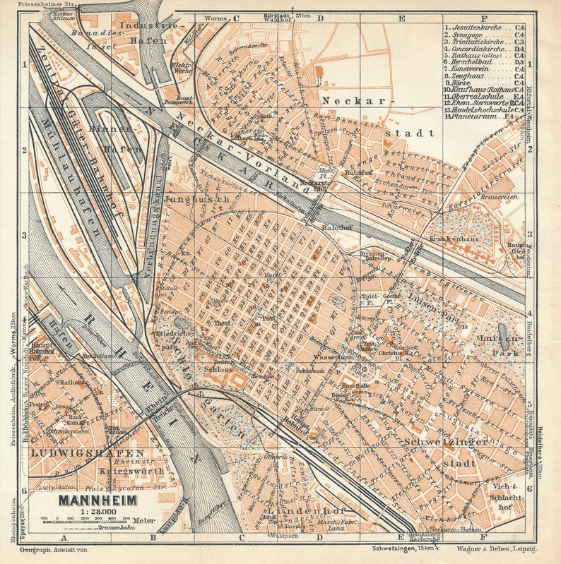 Map Of Germany Mannheim.1931 Mannheim Germany Antique Map Etsy