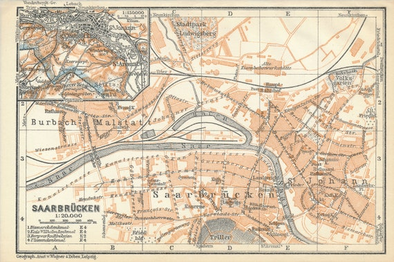 Saarbrucken Germany Map.1926 Saarbrucken Germany Antique Map Etsy