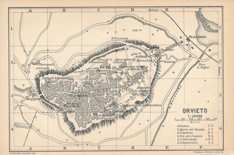 1897 Orvieto Italy Antique Map | Etsy on