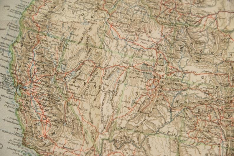 Large 1909 United States Antique Map