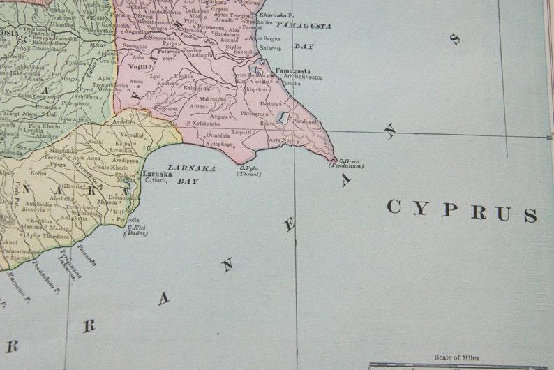 Carte Chypre Crete.1901 Chypre Crete Carte Antique