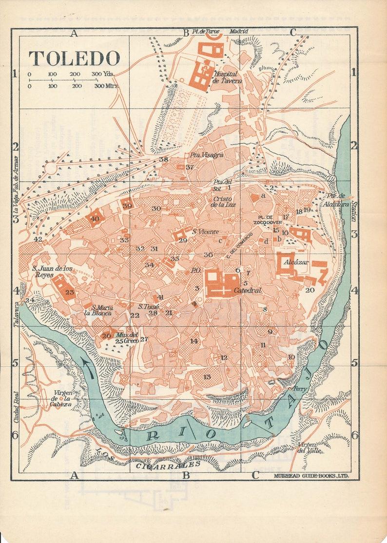 Map Of Spain 1930.1930 Toledo Spain Antique Map