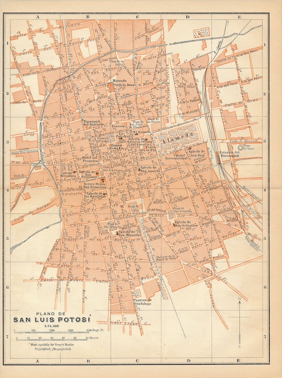 1911 San Luis Potosi Mexico Antique Map Etsy