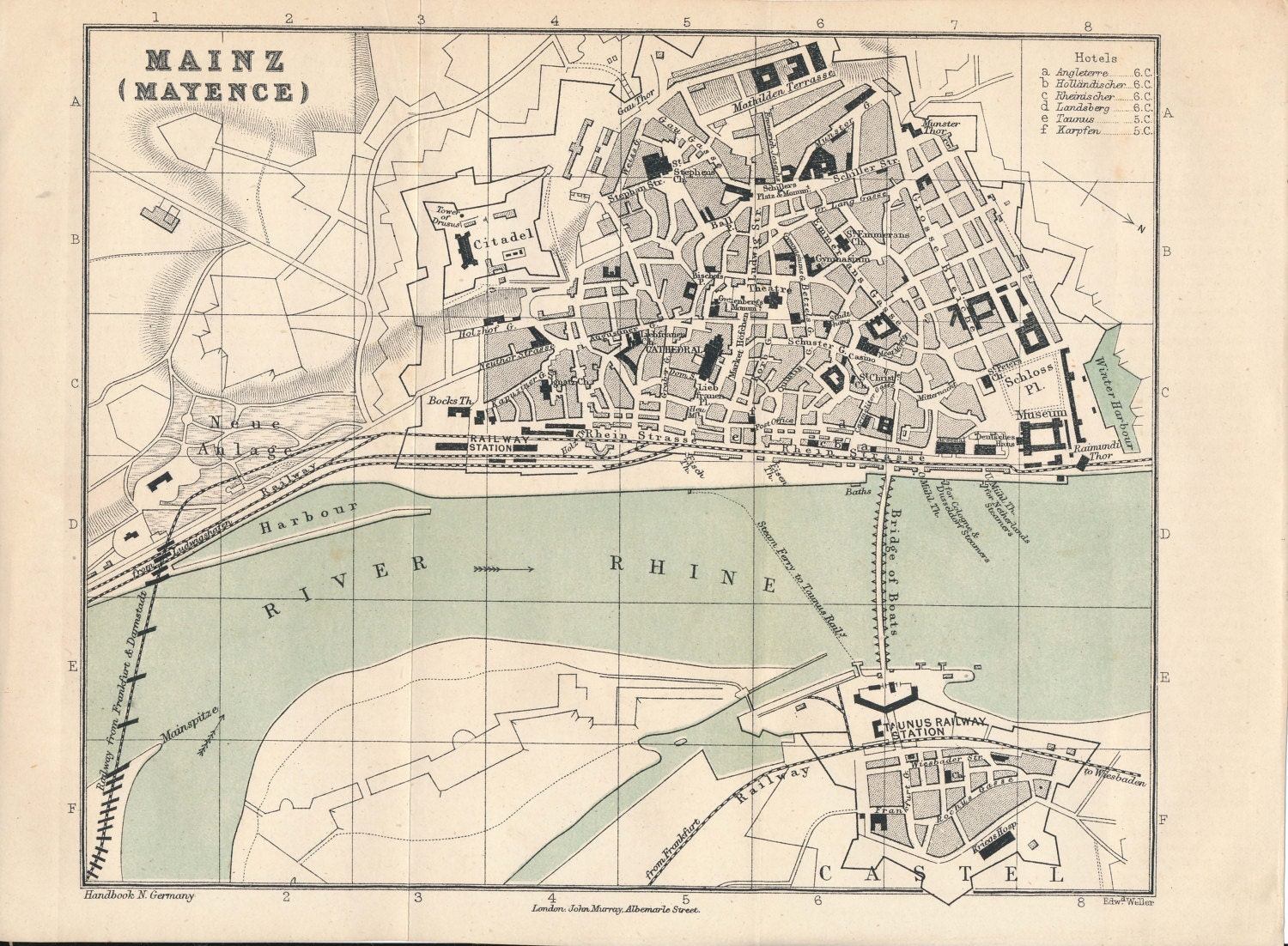 1877 Mainz Germany Antique Map Etsy