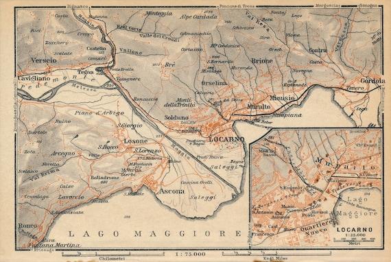 1928 Locarno Switzerland Antique Map | Etsy