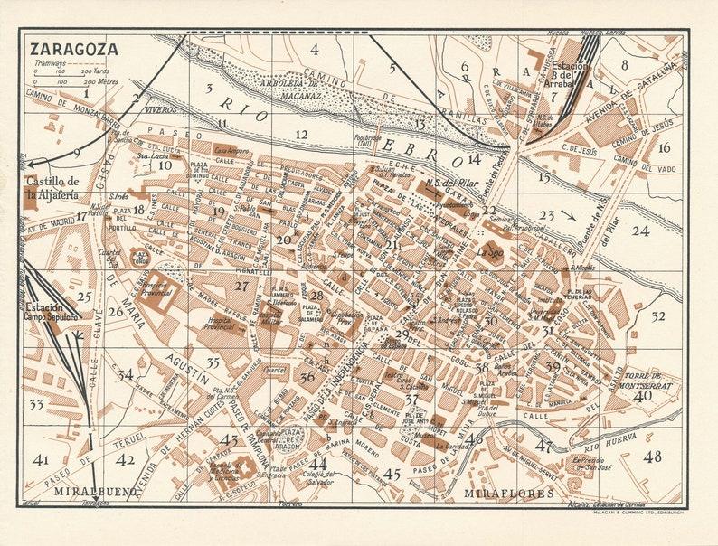Map Of Spain Zaragoza.1958 Zaragoza Spain Vintage Map Etsy