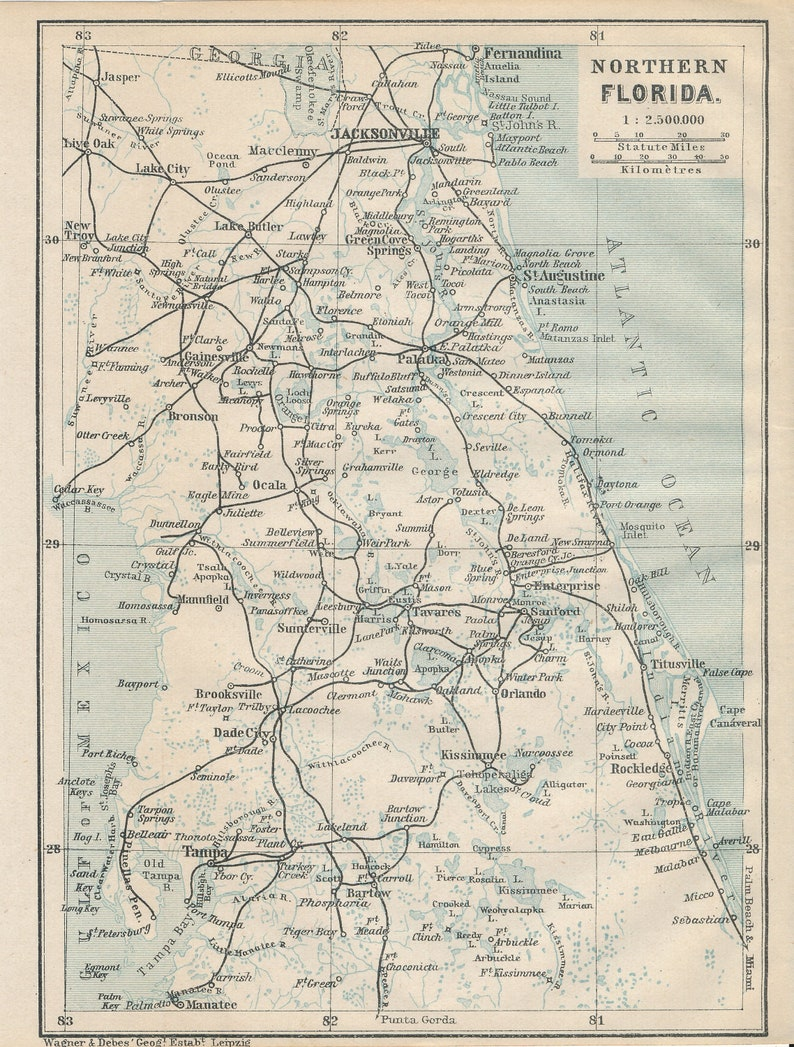 1909 Northern Florida From Jacksonville to Tampa Antique Map
