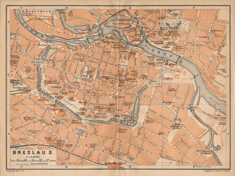 1910 Wroclaw Poland Formerly Breslau Germany Antique Map Etsy