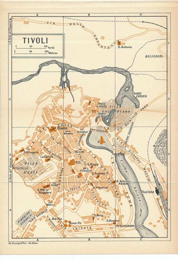 1956 Tivoli Italy Antique Map