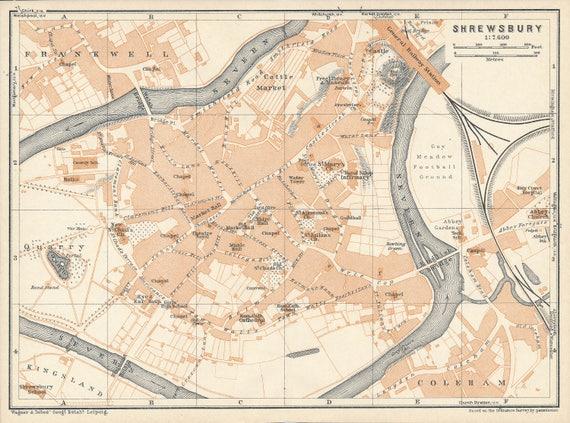 1927 Shrewsbury United Kingdom Great Britain Antique map | Etsy