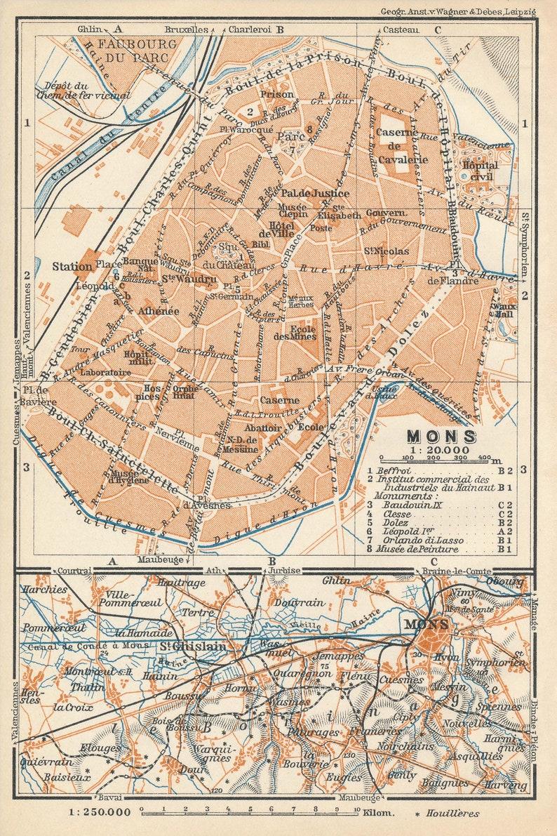 Carte Belgique Mons.Carte Ancienne De 1910 Mons Belgique Etsy